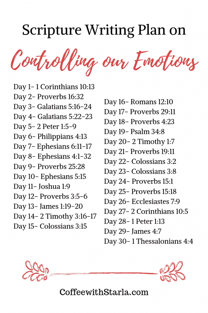 Scripture Writing on Controlling Emotions, Bible reading plan on Emotions
