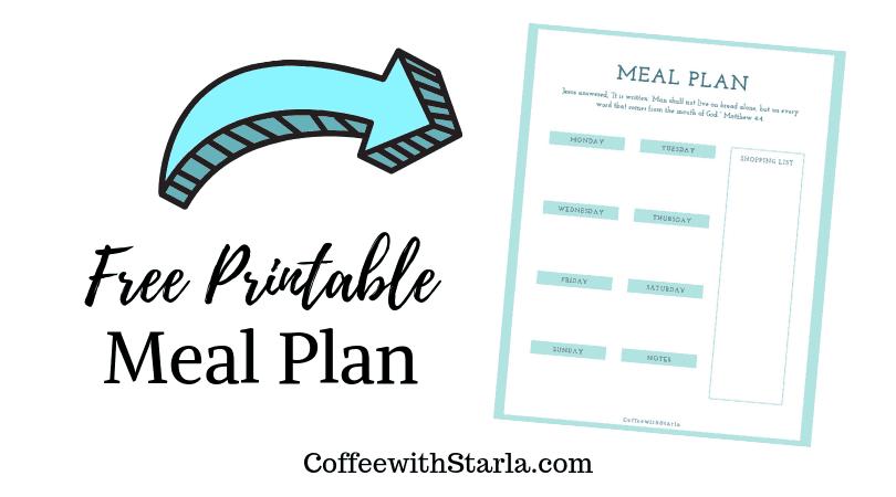 Free printable Meal Plan, Weekly Meal Plan