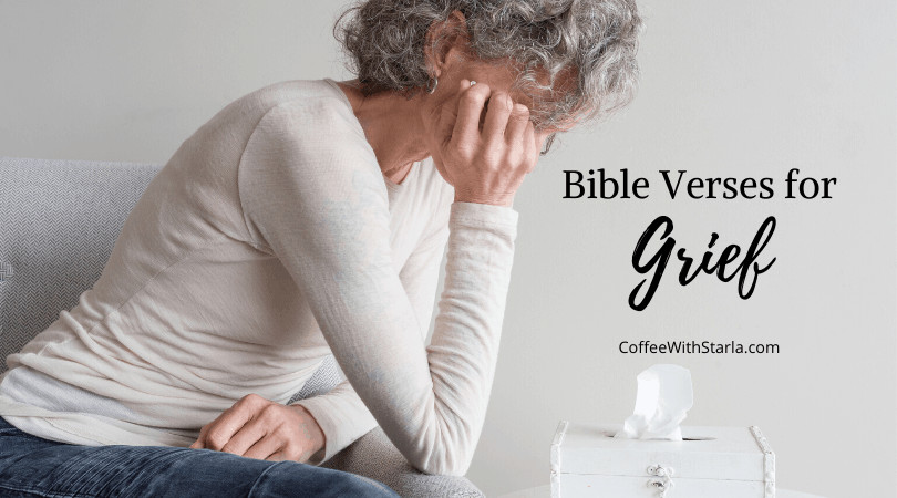 sad silver haired lady sitting on couch, scripture about grief