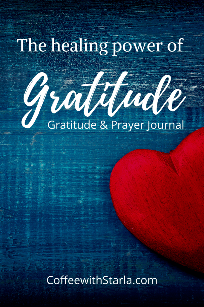 Gratitude and Prayer Journal, blue background with red heart