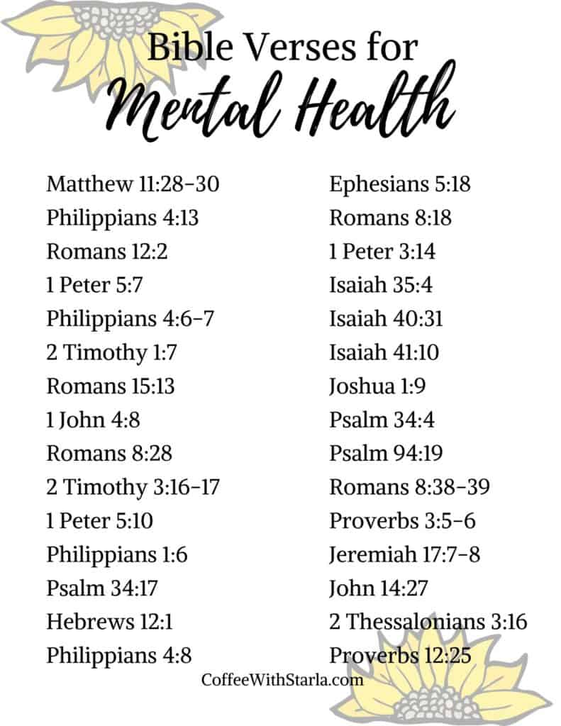 List of Bible verses for mental health