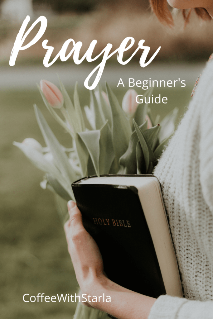 Prayer for beginners, how to pray, woman outside with tulips and a bible in her arms