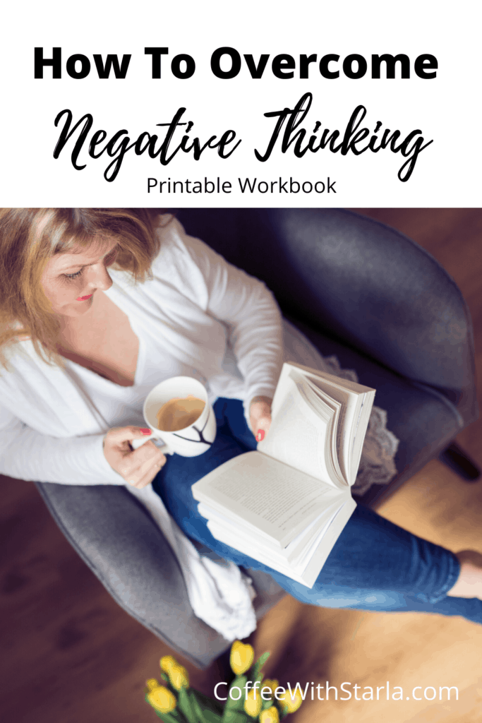 How to overcome negative thinking, lady reading a book with a cup of coffee.