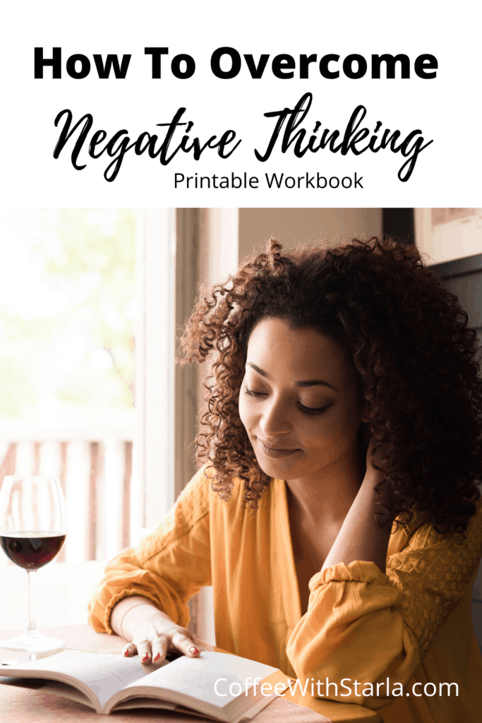 How to overcome negative thoughts. Lady reading a book with a glass of wine.