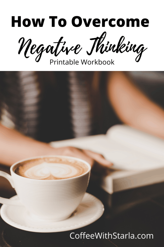 How to overcome negative thoughts. Lady reading a book with coffee.
