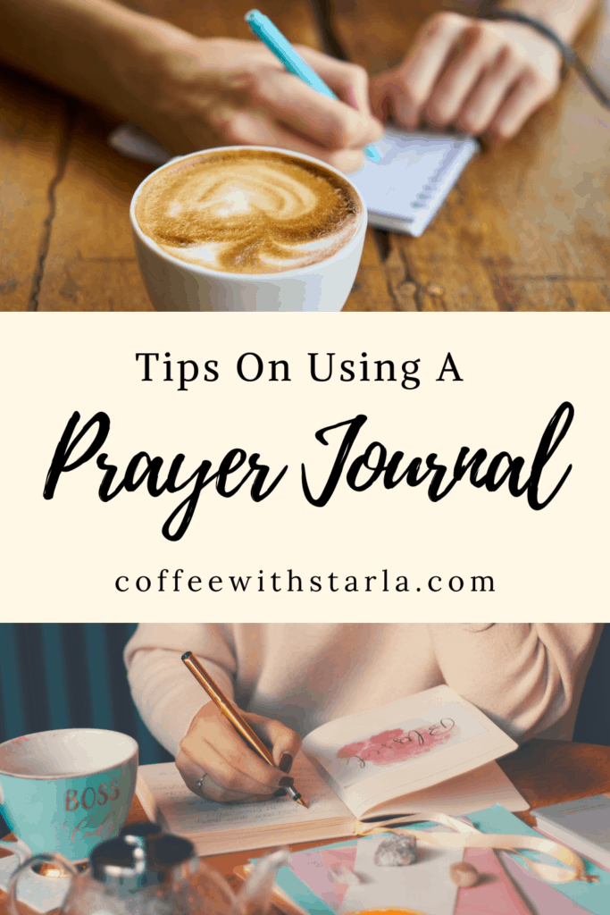 writing on a notebook with a cup of coffee on the table, tips on using a prayer journal,