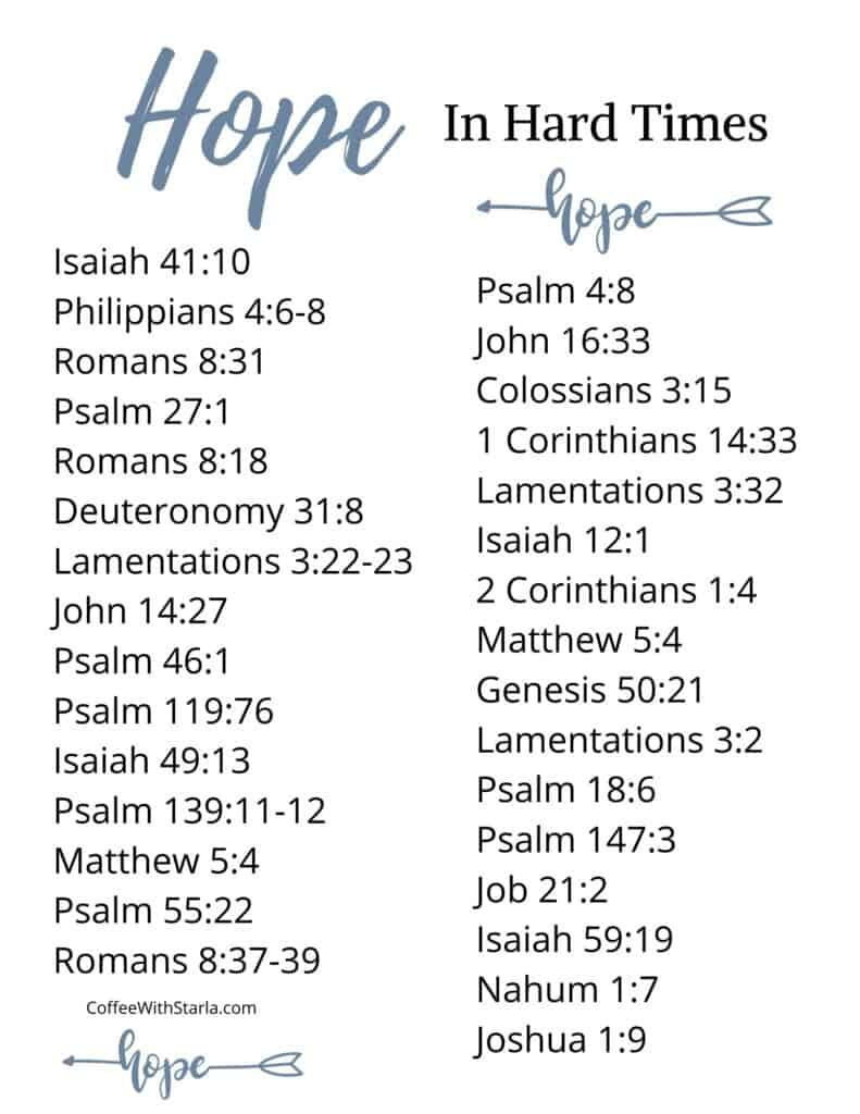 List of Bible Verses About Hope in Hard Times printable