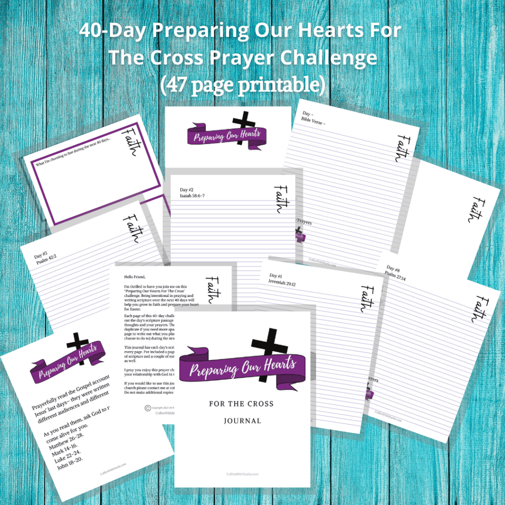 preparing our hearts for the cross journal with teal background