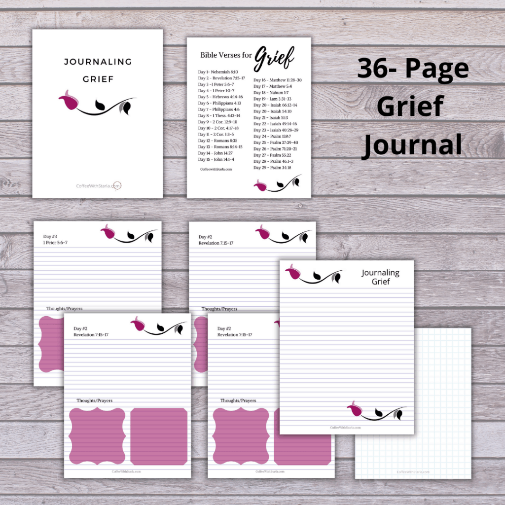 Grief journal on grey wood background