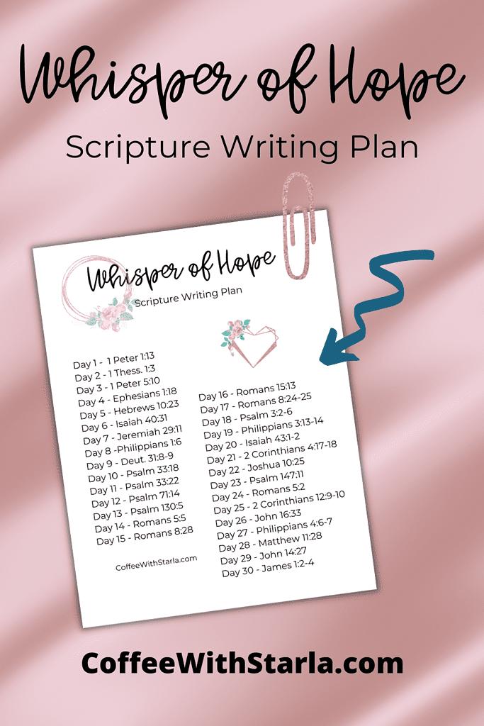 Hope Devotional, scripture on hope, whisper of hope scripture writing plan on rose gold background