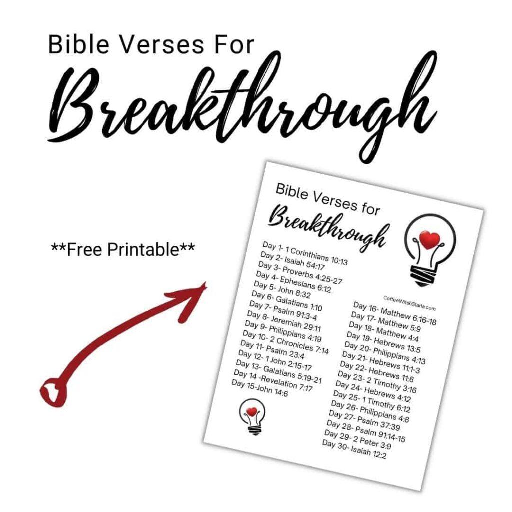 praying for breakthrough, bible verses for breakthrough printable
