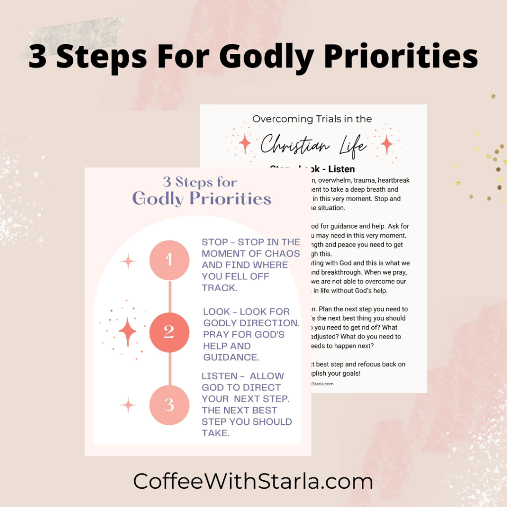 printable mockup of the christian life - 3 steps for Godly priorites
